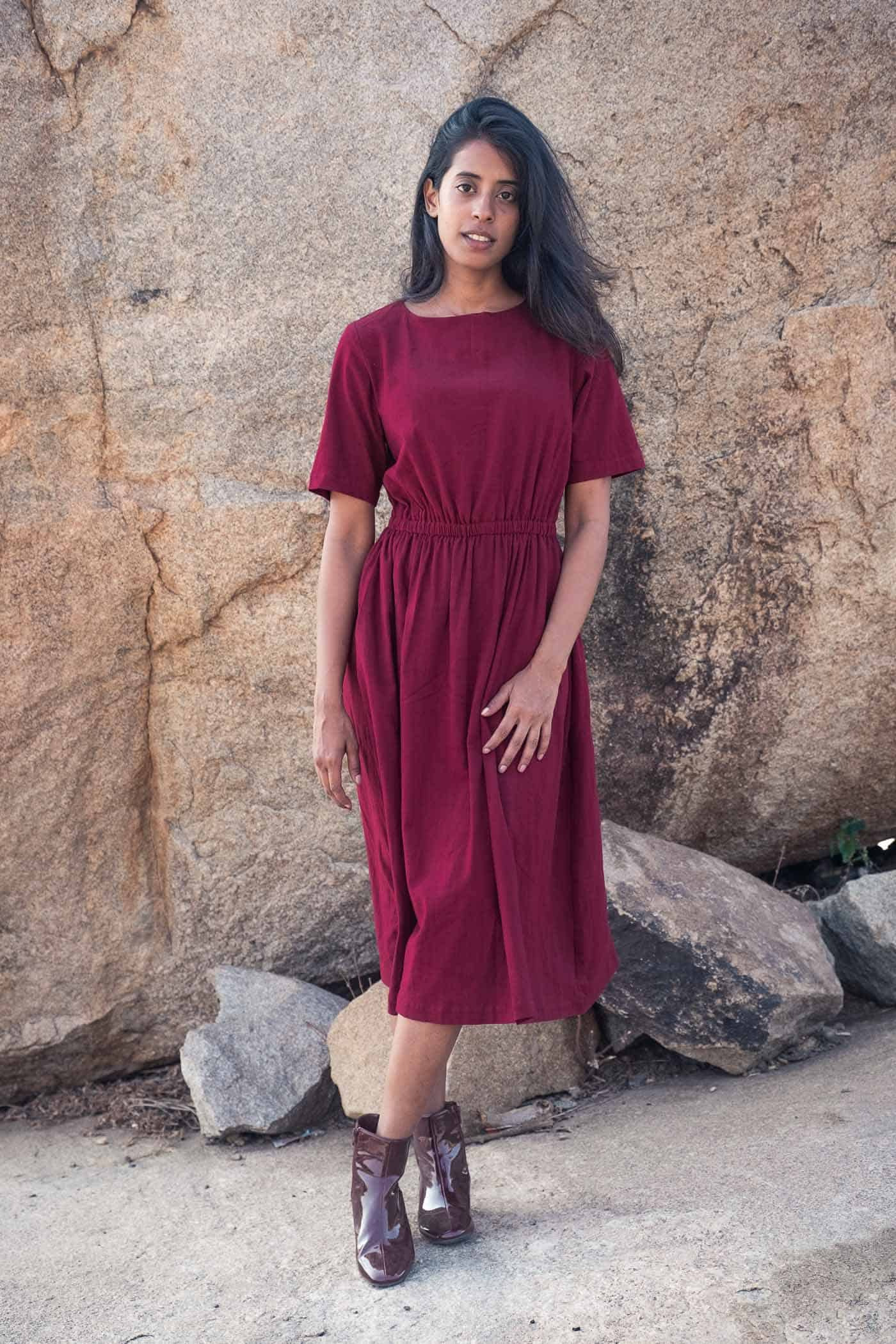 Dress Keya  Burgundy from Jyoti - Fair Works