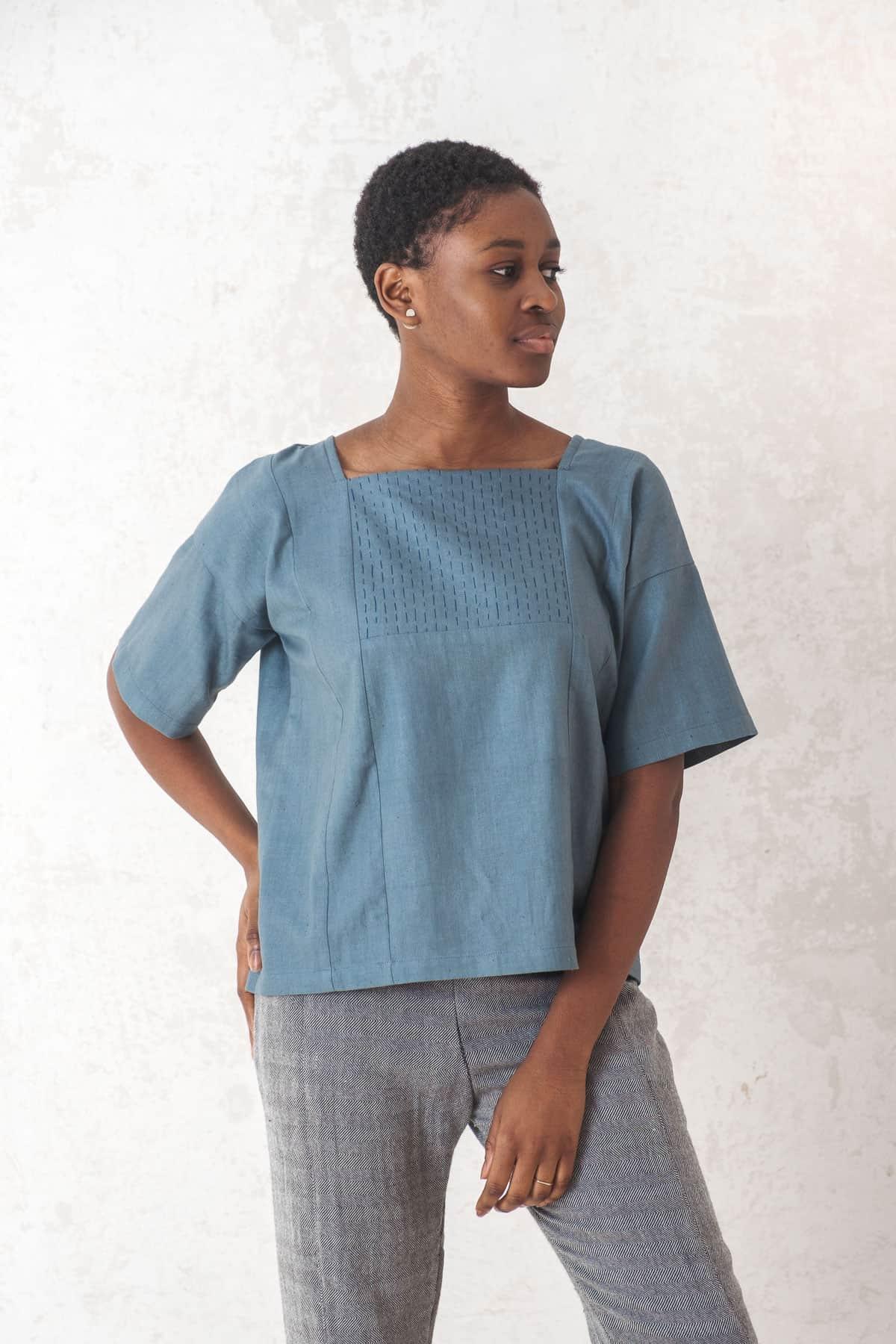 Shirt Rithu  Lakeblue from Jyoti - Fair Works